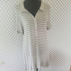 Free People gray stripe polo dress
